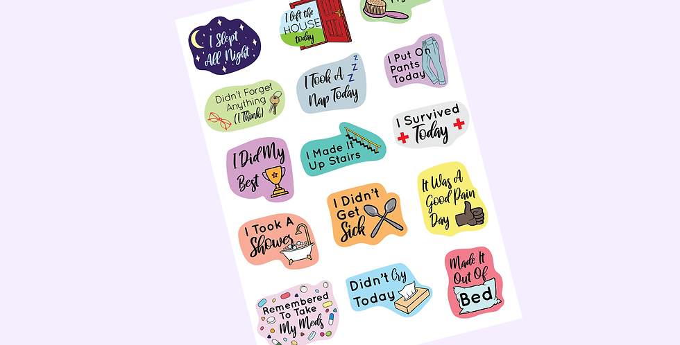 Chronic Illness Achievement Sticker Sheet