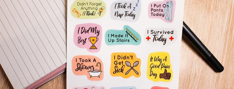 Chronic Illness Achievement Sticker Sheet