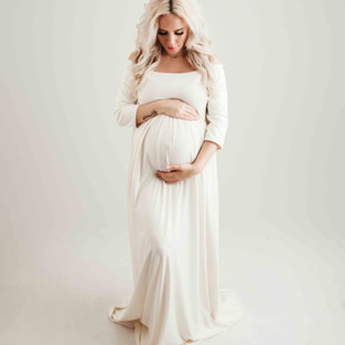 White Flowy Maternity Dress