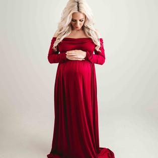 Red Flowy Maternity Dress