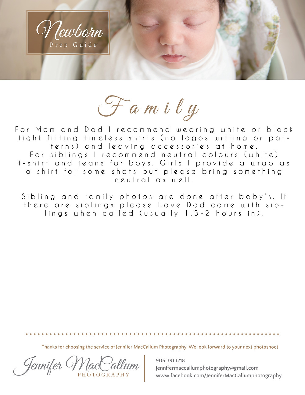 Prep guide for families for their newborn photography session