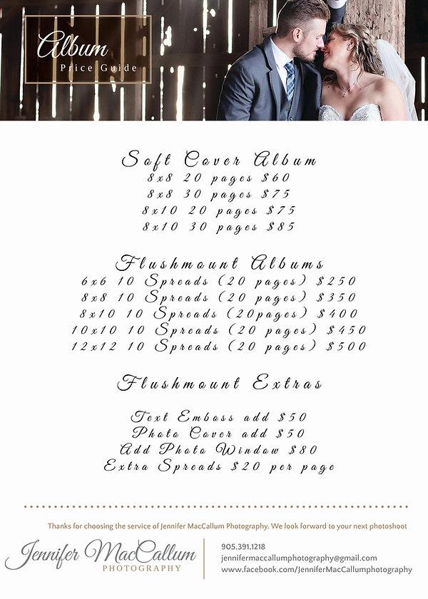 Album Price Guide newbor and wedding