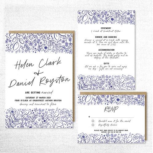 Floral sketch invitation set