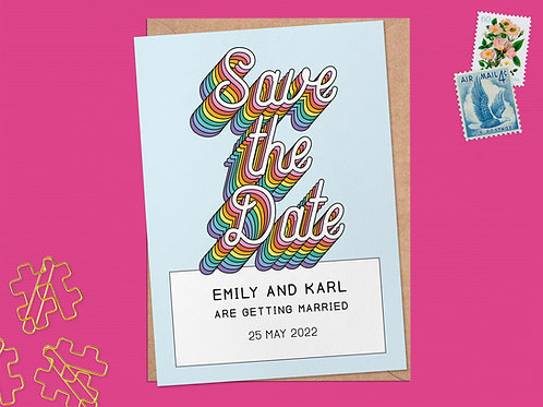 Modern Rainbow Save the Date | Personalised