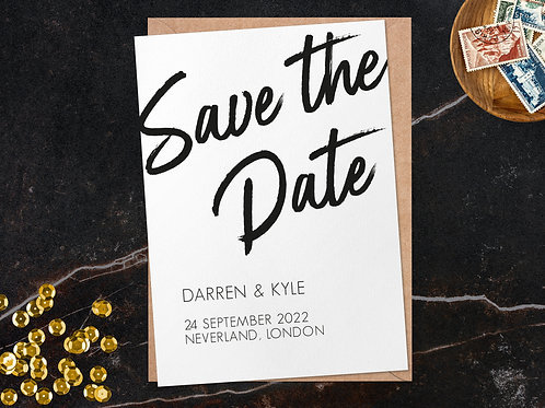 Marker Brush Pen Save the Date | Personalised