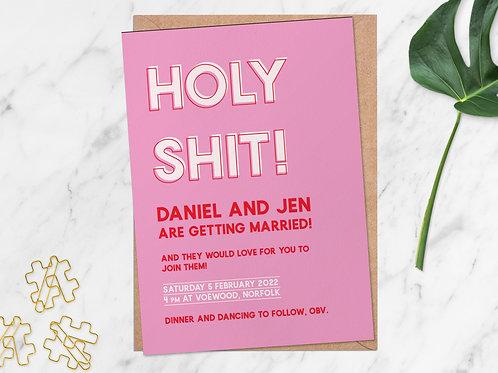 Holy Shit Wedding Invitation | Personalised Wedding Stationery
