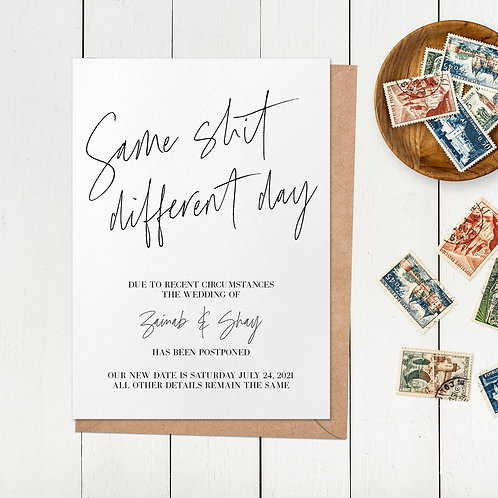Postponement Card | Wedding | Coronavirus Card | Wedding Date Change