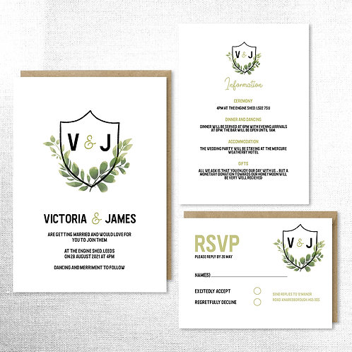 Floral crest invitation set