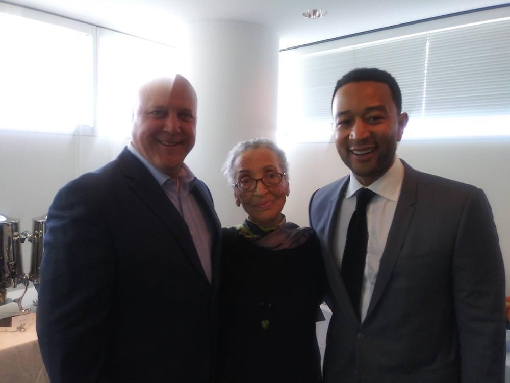 Betty Reid Soskin with John Legend and former NOLA Mayor Mitch Landrieu