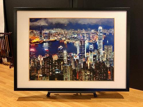 Framed Giclée Art Print - Hong Kong Night Scene