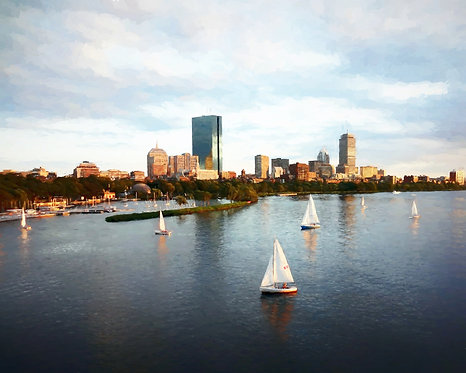 Framed Giclée Art Print - Charles River and Back Bay