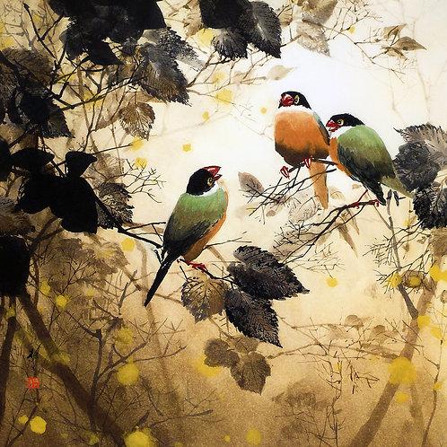 Framed Giclée Art Print - Colorful Birds