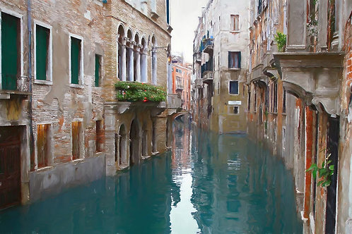 Framed Giclée Art Print - Venice Canals Italy