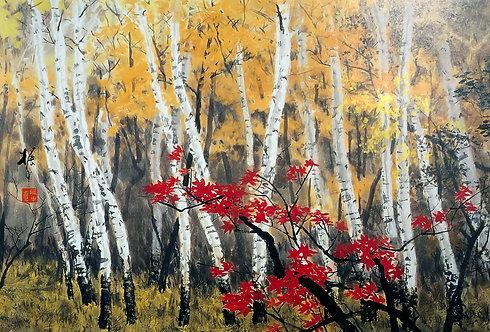 Framed Giclée Art Print - Autumn forest