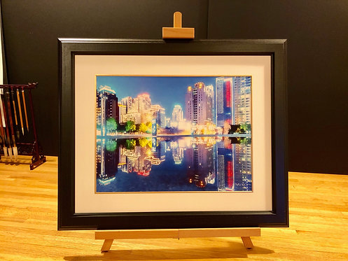 Framed Giclée Art Print - Taiwan Mirror Buildings