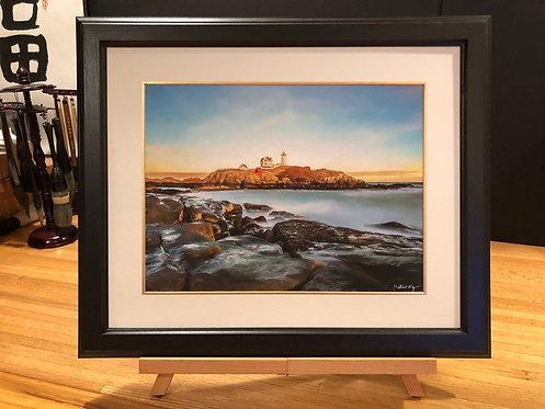 Framed Giclée Art Print - Lighthouse in Maine