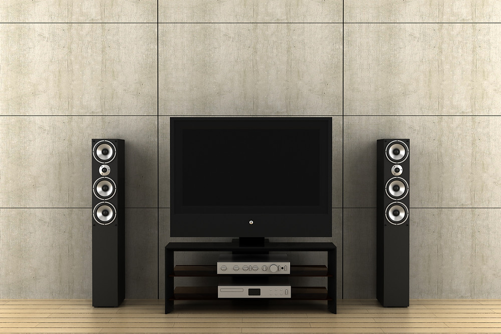 Home theatre system with TV and speakers