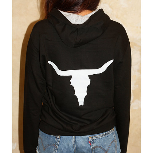 Unisex Grey Cow Skull (on back) Black Hoodie with Grey Inner Hood