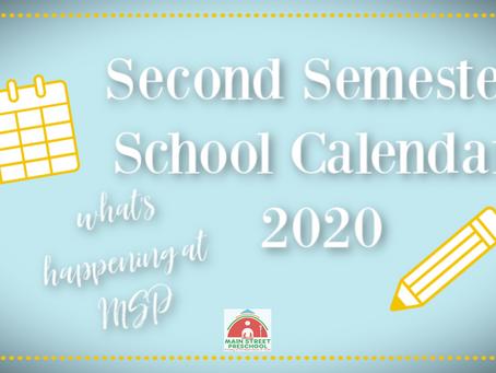 Main Street Preschool - 2nd Semsester Calendar