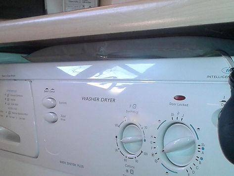 SteadySpin washer/dryer stabiliser in use.