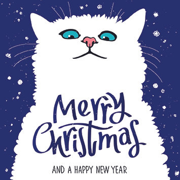 Merry Christmas White Cat
