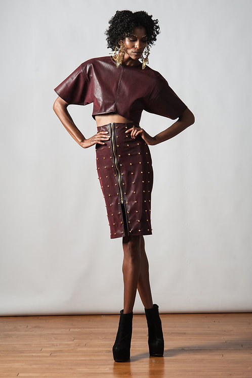 SPIKED RED VELVET LEATHER SKIRT