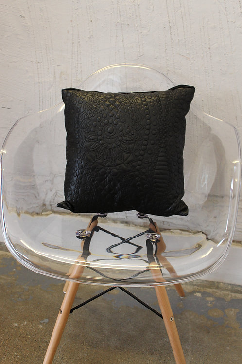QUILTED FAUX LEATHER LUXE PILLOW
