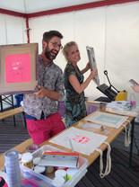 mini workshop zeefdrukken op locatie