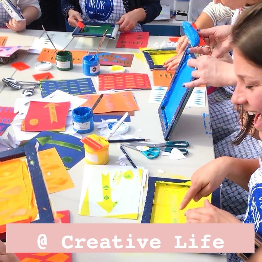 Monoprint zeefdruk @ Creative life