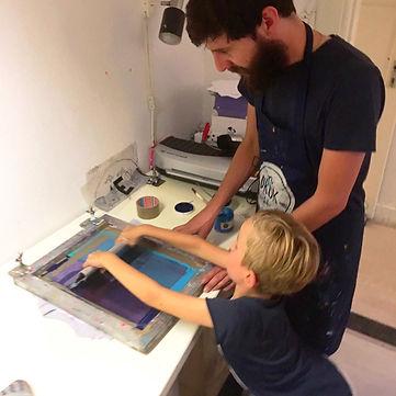 zeefdrukken kinderfeestje, children screenprinting