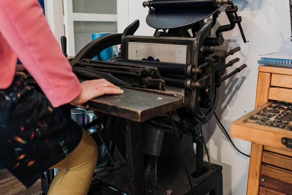 trapdegel, letterpress, platenpress, leadtype, woodtype, boekdruk