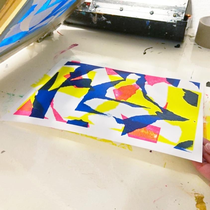 Workshop monoprint zeefdrukken