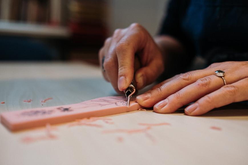 gutsen, stempels maken, making stamps