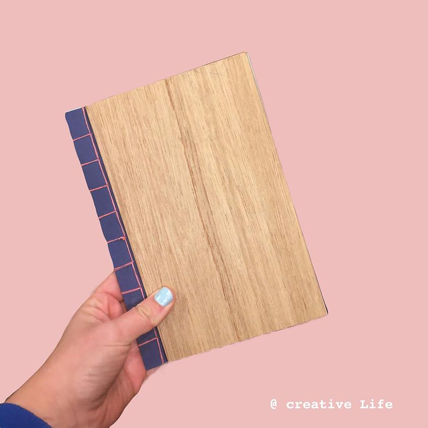 Japanse bindwijze met houten kaft @ Creative life