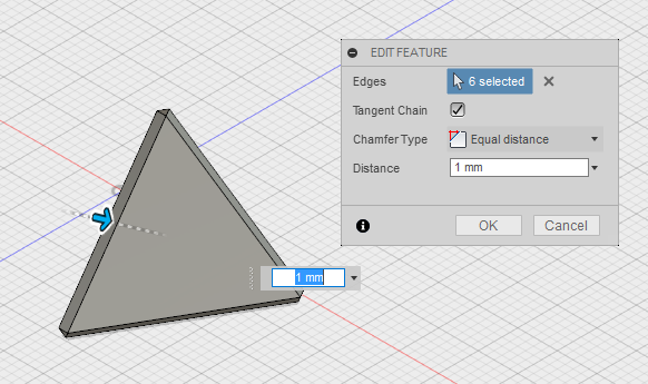 Chamfering edges in Fusion360