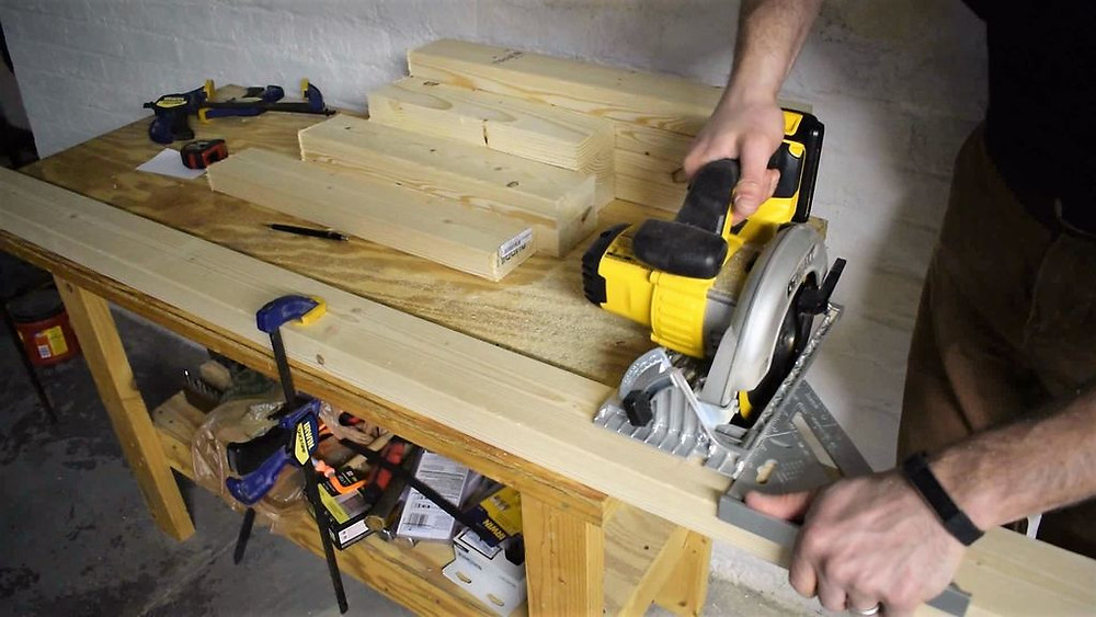 Use a speed square to guide the circular saw