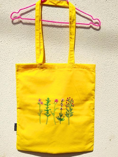 """Sacola Amarela """"Flores"""""""