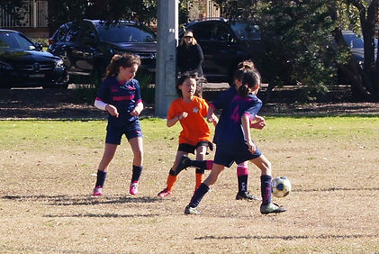 Young girls contesting ball in soccer match