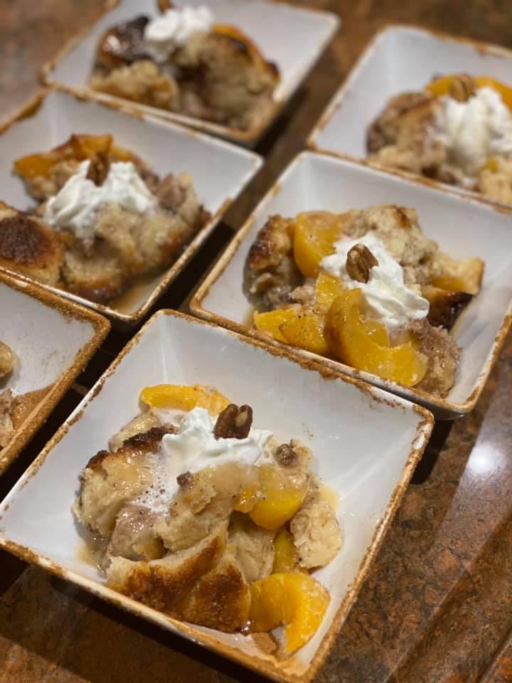 Peach Pecan Bread Pudding