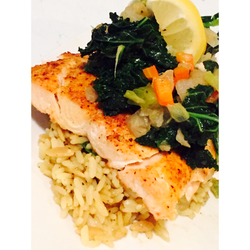 Lemon Peppered Salmon on Brown Rice with a Veggie Medley