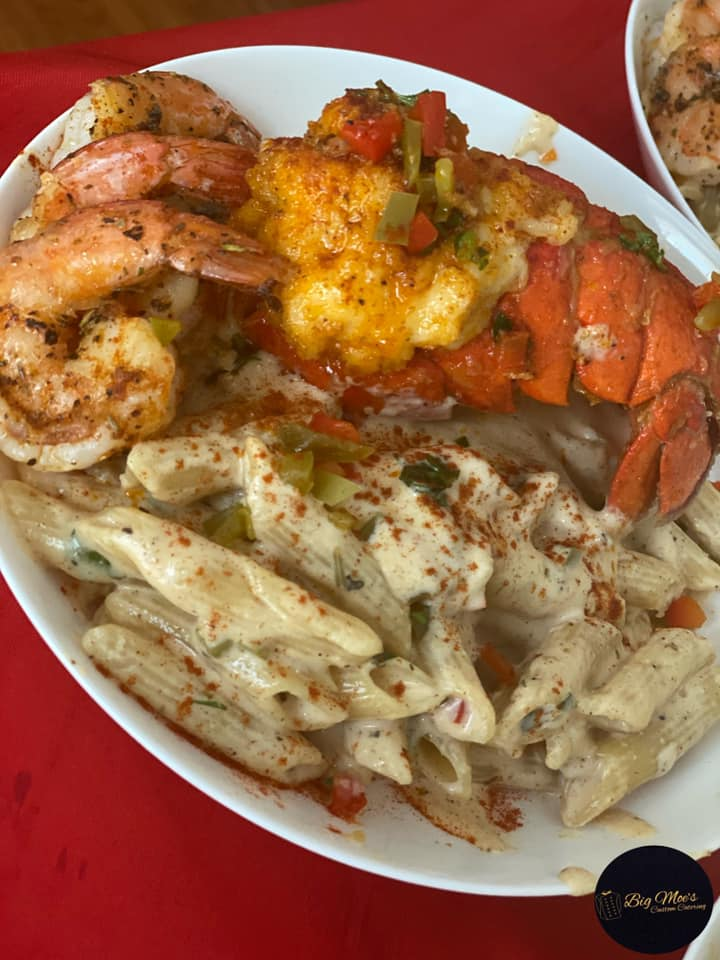 Blackened Cajun Pasta with Fried Lobster