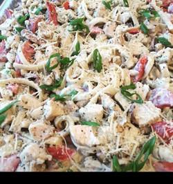 Chicken and Sausage Fetticini Alfredo