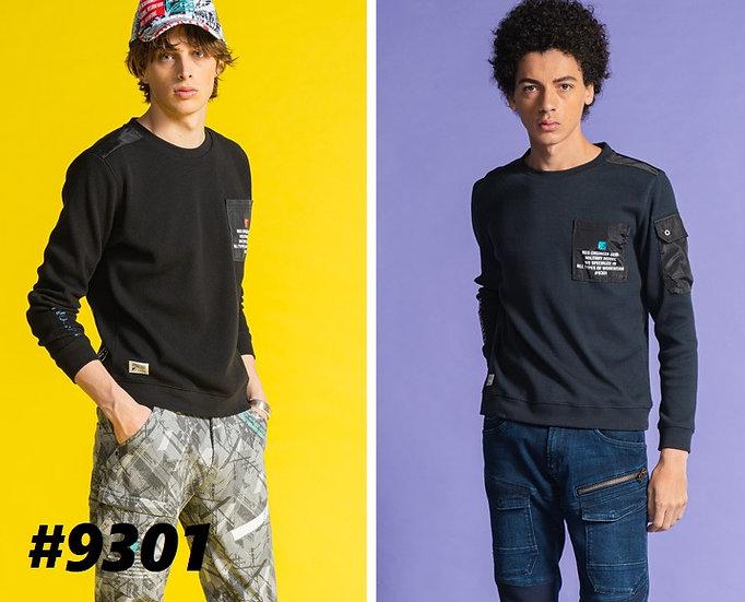 アイズフロンティア #9301 バンプワッフルハイブリットクルーネックシャツ