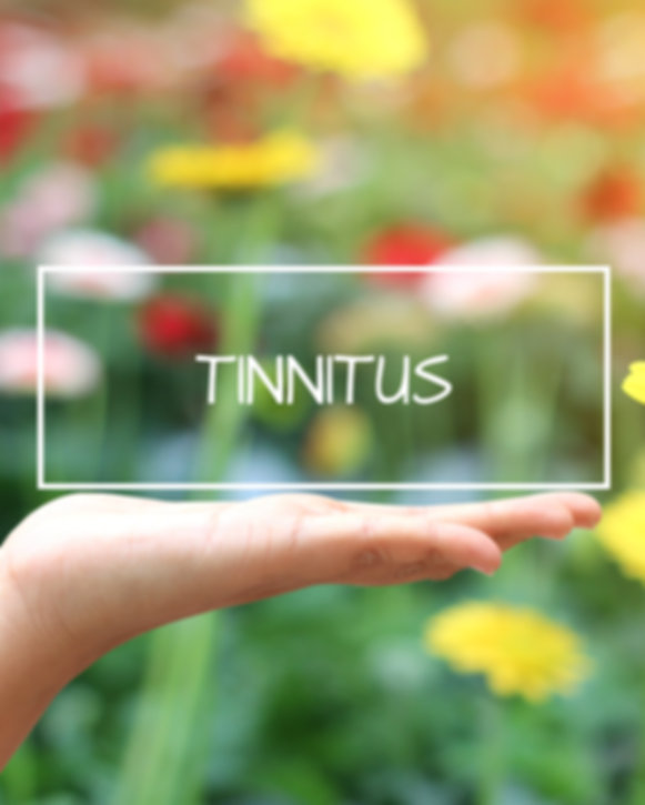 Tinnitus word on the white box. concept