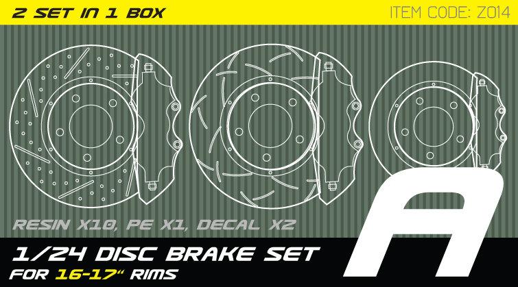 Z014 1/24 Disc brake set A for 15-17'' rims