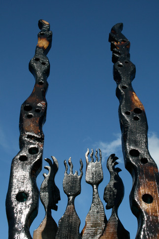 burnt wood totems