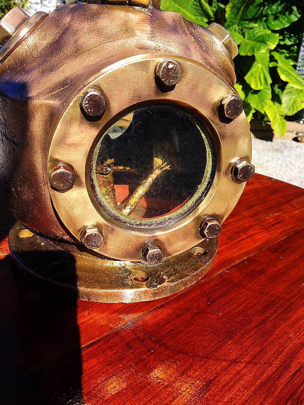 man inside diving helmet