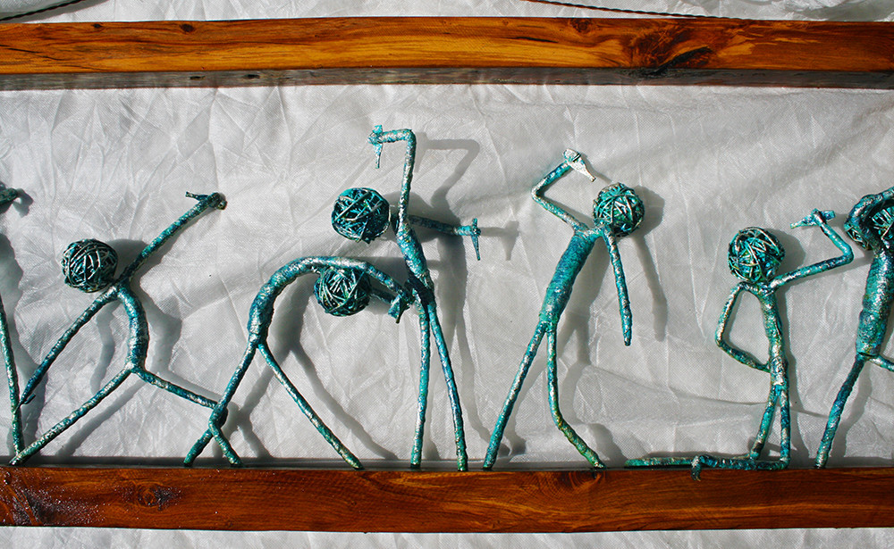 turquoise figures drinking