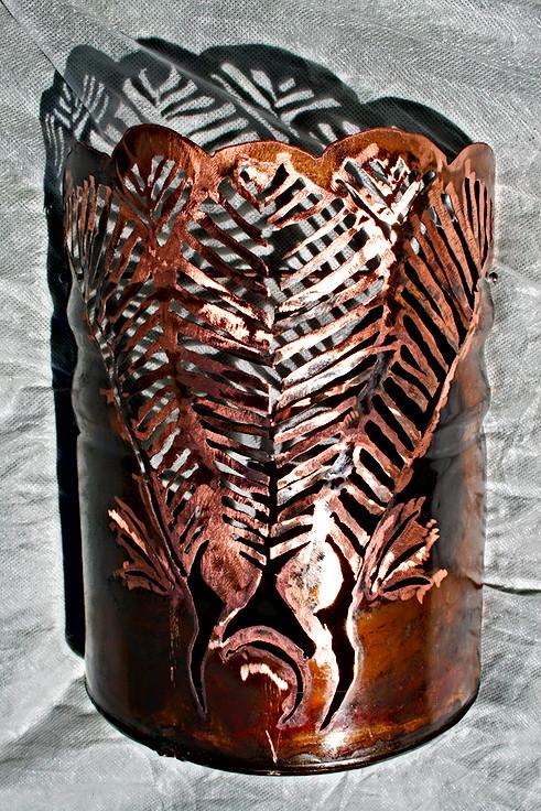 Copper Nikau lamp