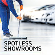 Person sweeping showroom floor